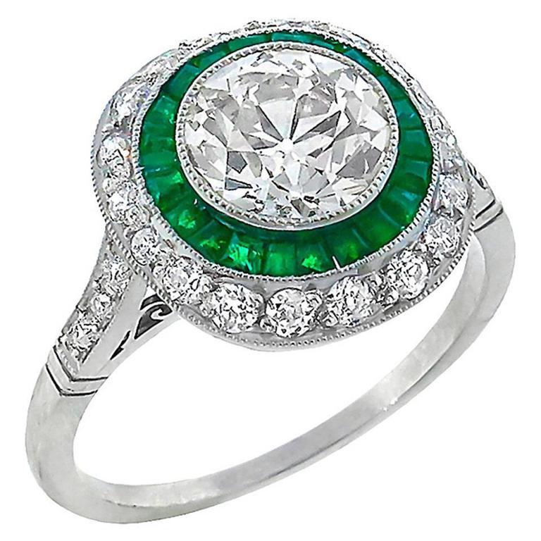1.71 Carat Old European Cut Diamond Emerald Double Halo Ring