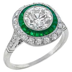 1.71 Carat Old European Cut Diamond Emerald Double Halo Ring