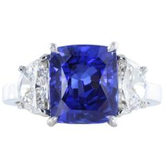 4.13 Carat No Heat Burma Sapphire Diamond Platinum Three-Stone Ring