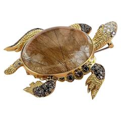 Smoky Quartz Diamond Gold Sea Turtle Pendant Brooch