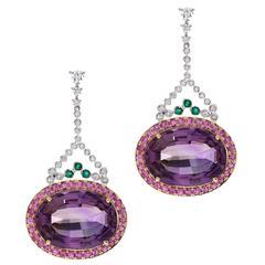 Pink Sapphire Amethyst Emerald Diamond Gold Earrings