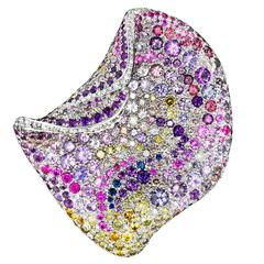 Naomi Sarna Multicolored Sapphire Amethyst Diamond Gold Petal Brooch