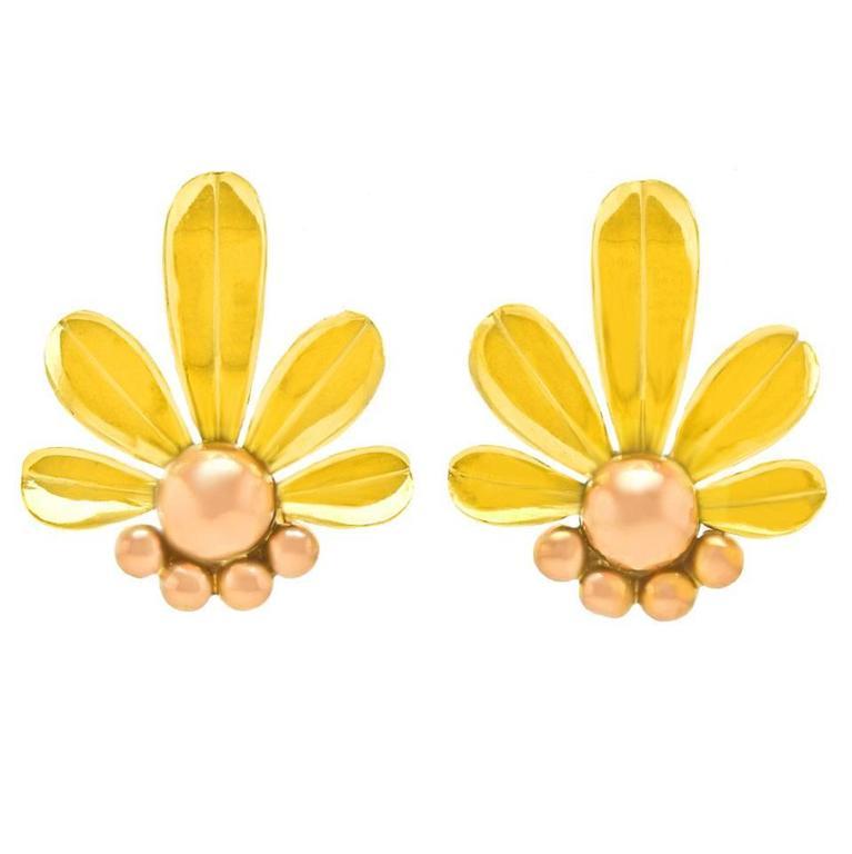 Art Deco Flower Power Gold Earrings For Sale