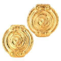 Spiral Motif Hammered Gold Earrings