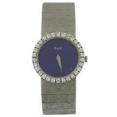 Piaget Ladies White Gold Diamond Bezel Lapis Lazuli Dial Wristwatch