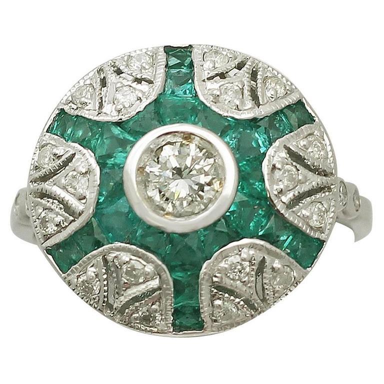 Emerald & Diamond White Gold Cocktail Ring