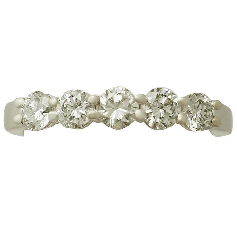1.33Ct Diamond & 18k White Gold Five Stone Ring, Contemporary Italian Circa 2000