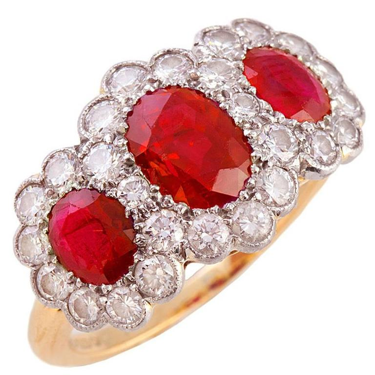 Triple ruby diamond gold cluster ring for sale at 1stdibs for Triple j fine jewelry