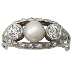 1920s Antique Pearl and Diamond White Gold Cocktail Ring