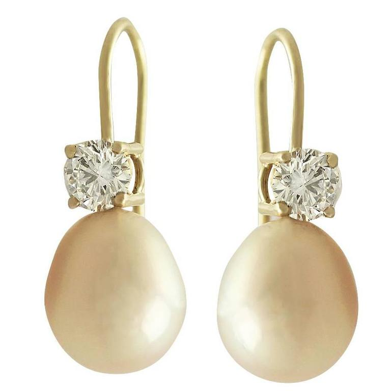 Pink Pearl and 0.60 ct Diamond 18k Yellow Gold Drop Earrings 1