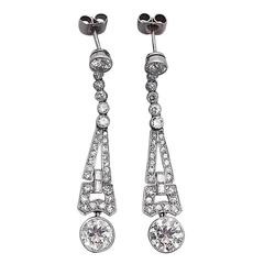 Art Deco  3.02 Carat Diamond Platinum Drop Earrings