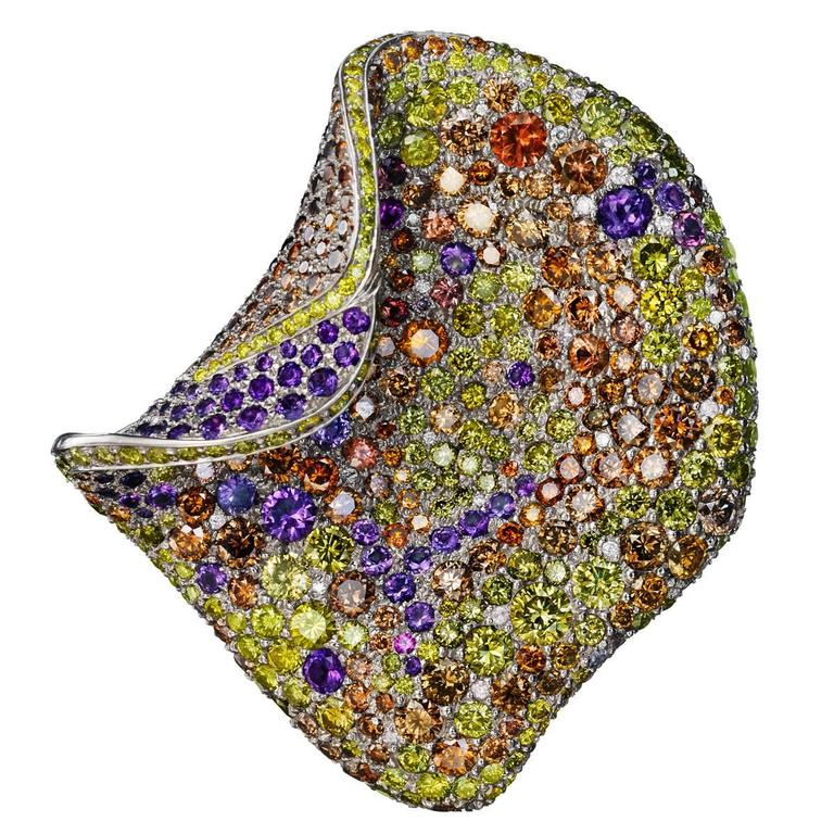 Multicolored Sapphire Diamond Amethyst Gold Petal Brooch For Sale