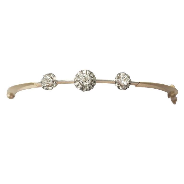 0.75Ct Diamond and 18k Yellow Gold, Platinum Set Bangle - Antique Victorian
