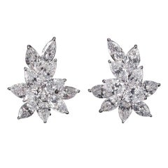 22.99 Carat GIA Certified Diamonds Platinum Cluster Earrings