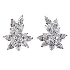 22.99 Carat GIA Certified Diamonds Platinum Cluster Earrings