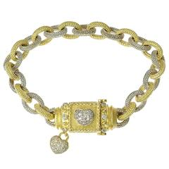 Stambolian Diamond Two-Color Gold Heart Link Bracelet