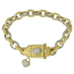 Stambolian Diamond Two Color Gold Heart Link Bracelet