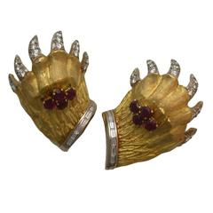 French Ruby Diamond Bear Paw Earclips