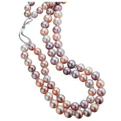Naomi Sarna Double Strand Freshwater Pearl Diamond Gold Necklace