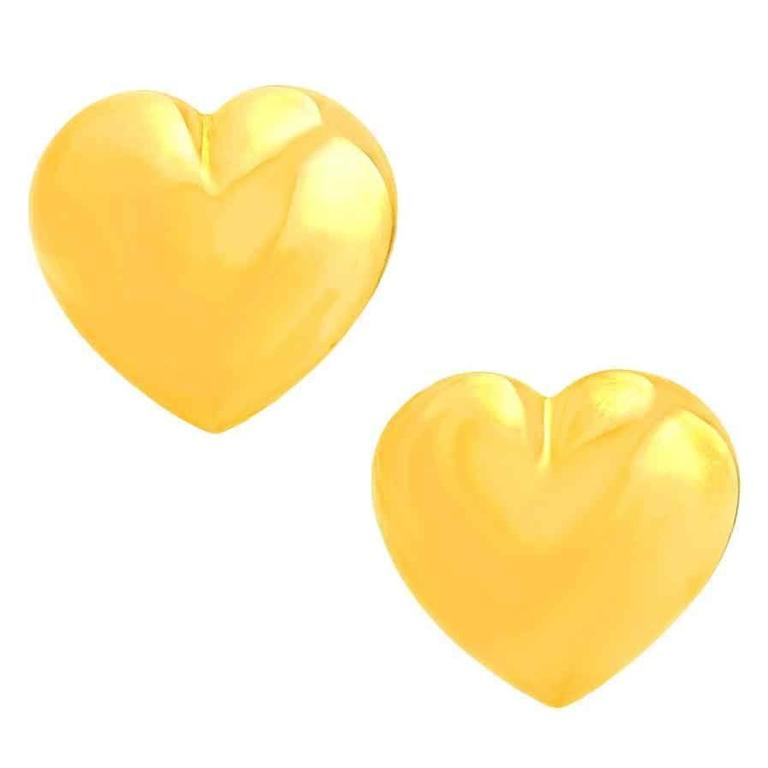 "Seventies Pop Art Polished Gold ""Heart"" Earrings 1"