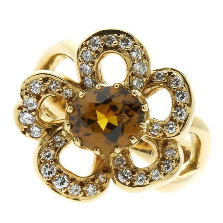 Hermes Diamond Gold Flower Ring
