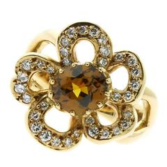 Hermes Diamond Gold Flower Ring