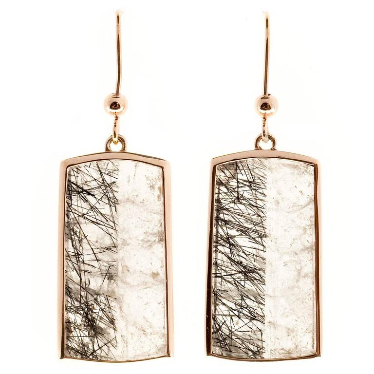 Peter Suchy Transparent Quartz Crystal Rose Gold Dangle Earrings