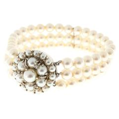 Akoya Cultured Pearl Diamond Gold Three Row Bracelet