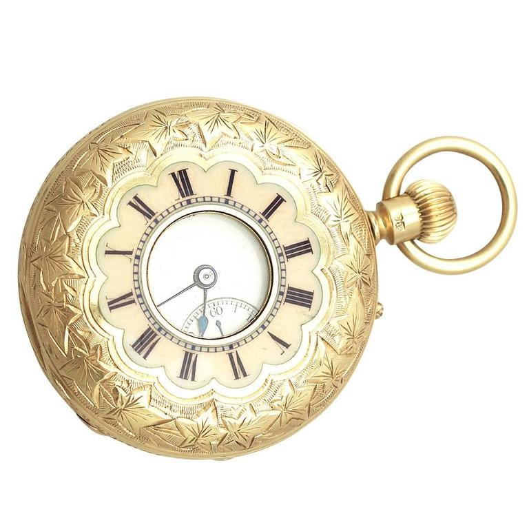 970840fa7 Yellow Gold Ladies Half Hunter Antique Pocket Watch at 1stdibs