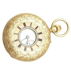18 ct Yellow Gold Ladies Pocket Watch, Half Hunter - Antique Victorian