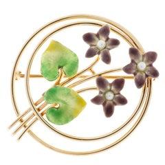 Krementz Pearl Enamel Rose Gold Flower Pin