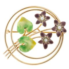 Krementz Pearl Enamel Rose Gold Flower Pin