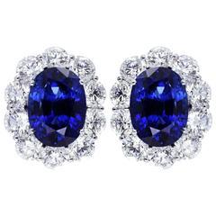 17.93 Carats Sapphires 8.72 Diamonds Platinum Cluster Earrings