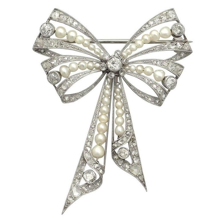 Pearl and 0.68Ct Diamond, Platinum Bow Brooch - Antique Victorian