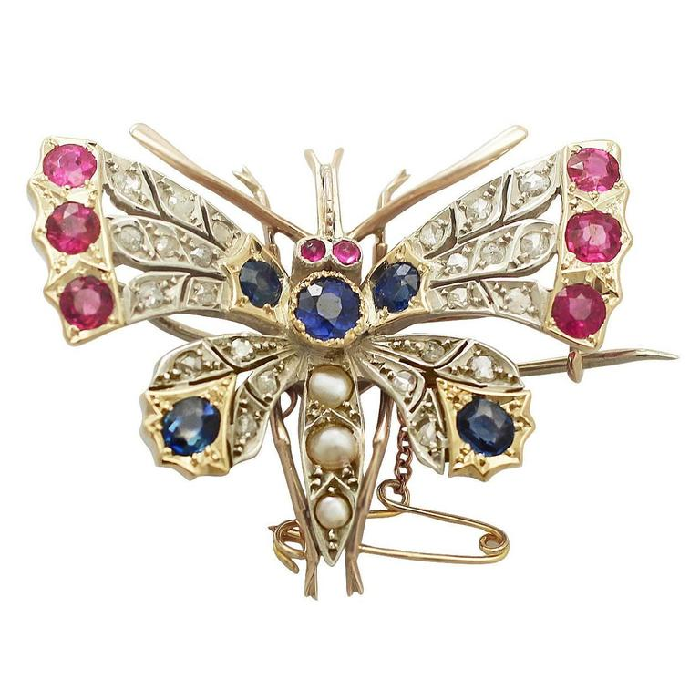 Pearl, Sapphire, Ruby & Diamond, 9k Yellow Gold Butterfly Brooch - Antique