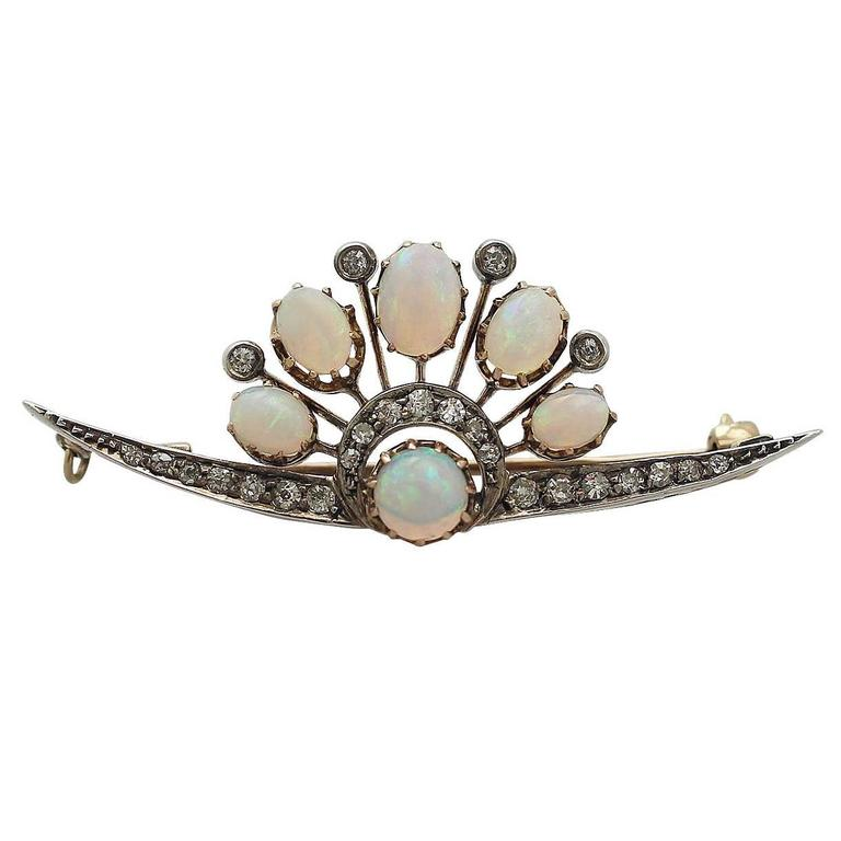 2.28Ct Opal and 0.58Ct Diamond, 9k Yellow Gold Brooch - Antique Circa 1910