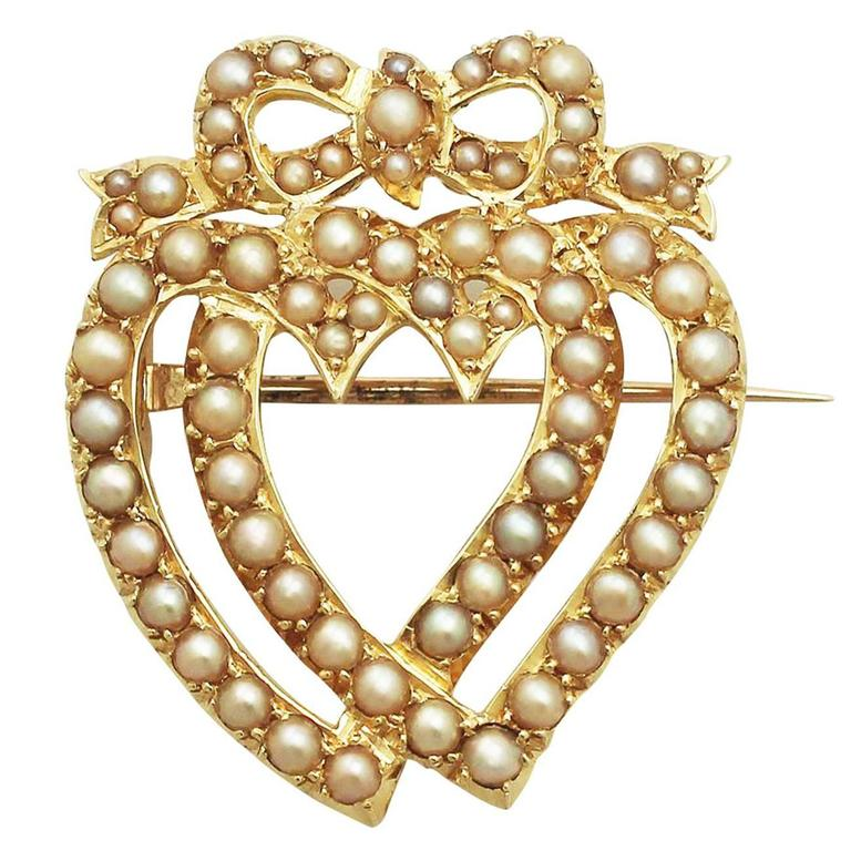 Seed Pearl and 18k Yellow Gold Heart Shaped Brooch - Antique Victorian