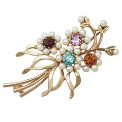 1.28Ct Multi-Gemstone and Pearls, 9k Yellow Gold Brooch - Antique Circa 1920