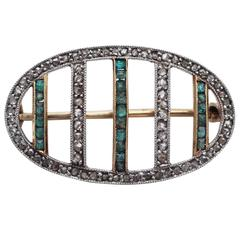 0.22 Carat Emerald and 0.39 Carat Diamond, 18 Karat Gold Brooch, Antique
