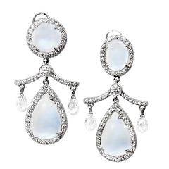Fred Leighton Moonstone Diamond Gold Chandelier Earrings
