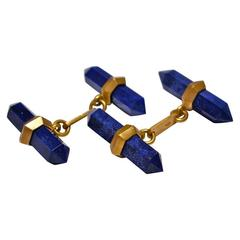 Jona Lapis Lazuli 18k Satin Rose Gold Prism Bar Cufflinks