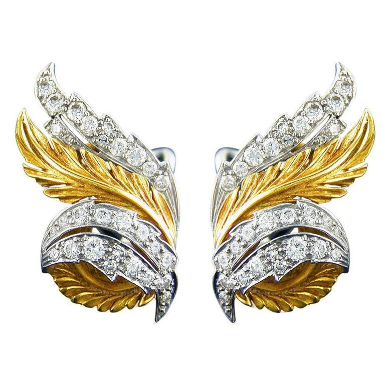 Retro McTeigue Diamond Gold Leaf Earrings 1