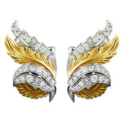 Retro McTeigue Diamond Gold Leaf Earrings