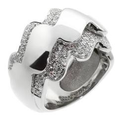Van Cleef & Arpels Diamond Gold Wave Ring