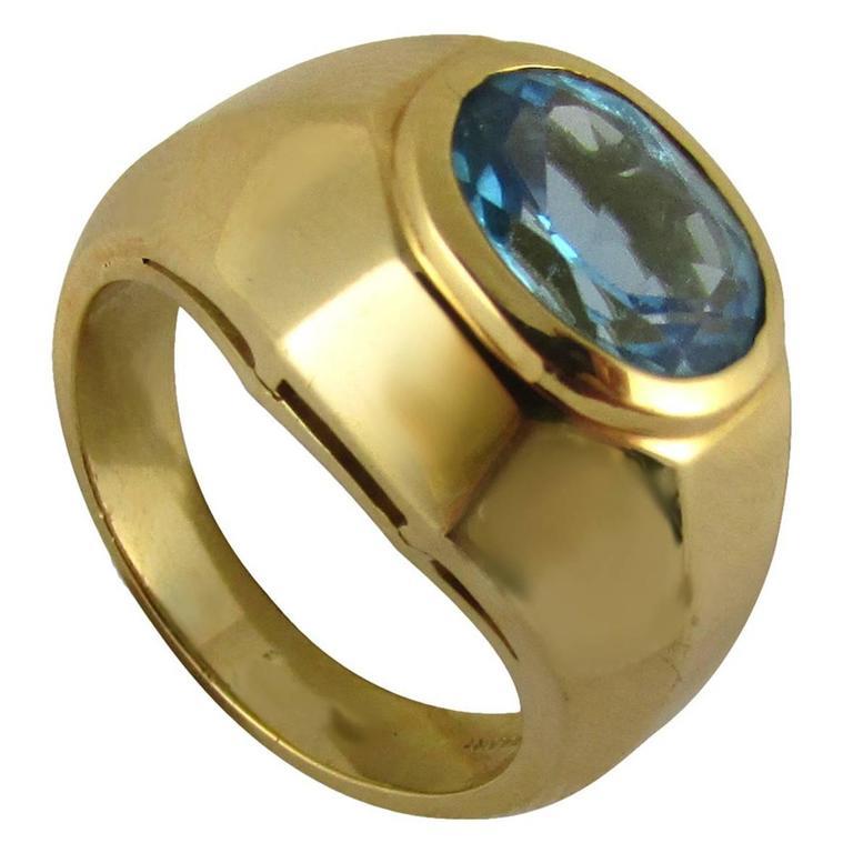2e0f93b359d Bulgari Blue Topaz Gold Ring 0