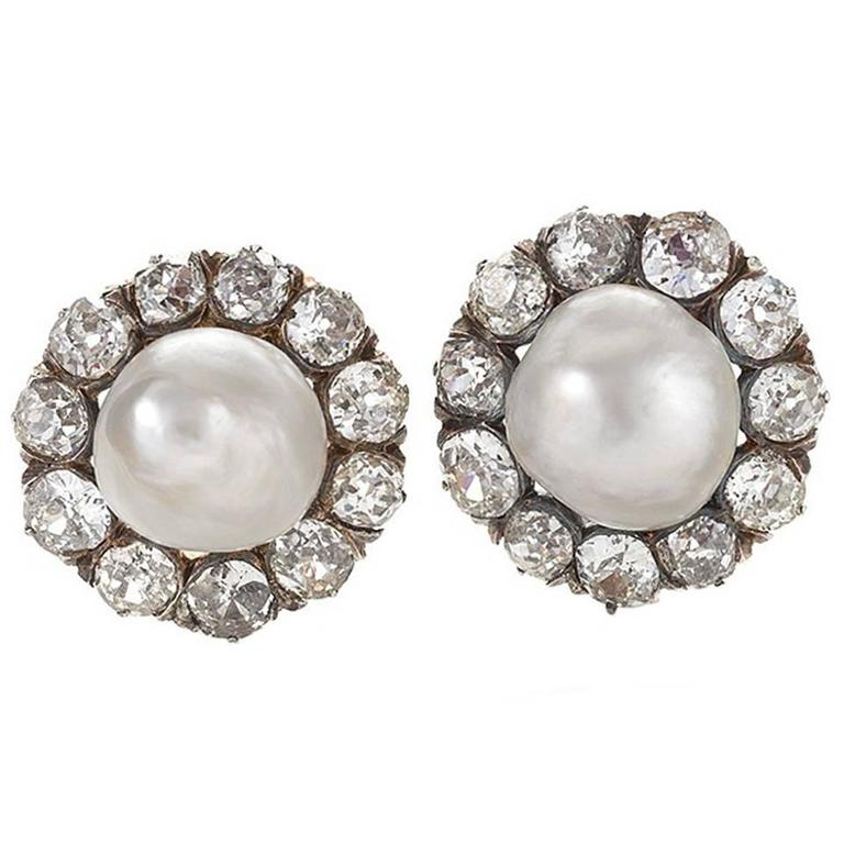 Antique Natural Saltwater Pearl Diamond Cluster Earrings