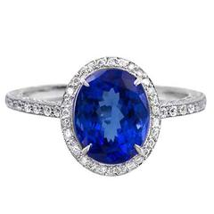 Fancy Oval Tanzanite Platinum Ring