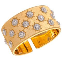 Buccellati 18 Kt. Gold Cuff Bracelet With 2.08 Carats, E-F Color Diamonds