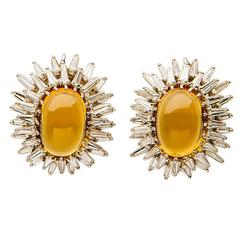 Elegant Citrine Diamond Gold Earrings
