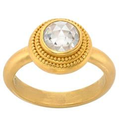 Denise Betesh 1.22 Carat Rose-Cut Solitaire Diamond Gold Ring